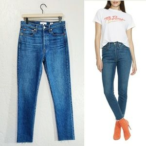 RE/DONE High Rise Ankle Button Fly Skinny Jeans 28
